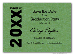 Shimmery Green Graduation Save the Date Cards