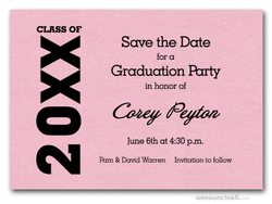 Shimmery Pink Graduation Save the Date Cards