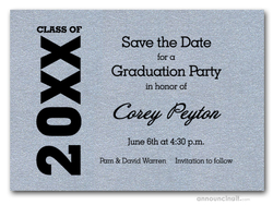 Shimmery Silver Graduation Save the Date Cards