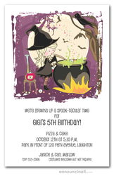 Cute Witch's Cauldron Halloween Invitations