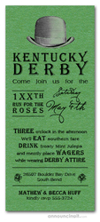 Derby Hat Shimmery Green Invitations