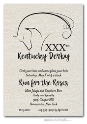 Elegant Horse Kentucky Derby on Shimmery White Invitations