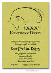 Elegant Horse on Shimmery Lime Derby Invitations