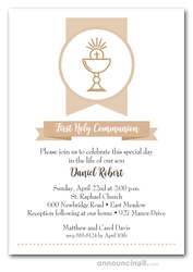 Beige Chalice Banner First Communion Invitations