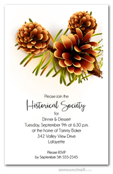 Pine Cones Fall Party Invitations