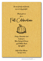 Pumpkin on Shimmery Gold Invitations