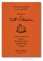 Pumpkin on Shimmery Orange Invitations