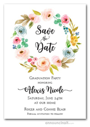 Faith Floral Wreath Graduation Save the Date Cards