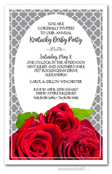 Fresh Red Roses Kentucky Derby Invitations