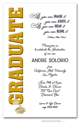 Tassel Charm and Gold Graduation Invitations