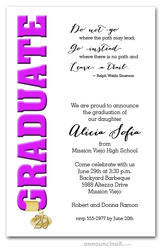 Tassel Charm and Hot Pink Graduation Invites
