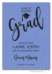 Simple Grad Shimmery Blue Save the Date Cards