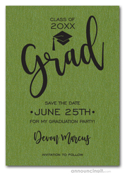 Simple Grad Shimmery Green Save the Date Cards