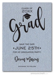 Simple Grad Shimmery Silver Save the Date Cards