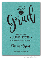 Simple Grad Shimmery Turquoise Save the Date Cards