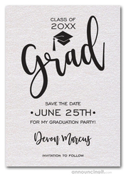 Simple Grad Shimmery White Save the Date Cards