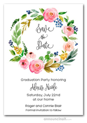Cara Floral Wreath Graduation Save the Date Cards