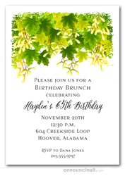 Green Foliage Party Invitations