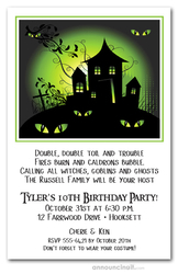 Green Haze Haunted House Halloween Invites