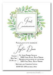 Leaves Green First Communion Invitations