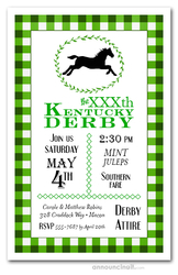 Green Plaid Kentucky Derby Invites