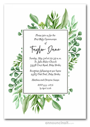 Greenery Corners First Communion Invitations