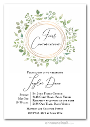 Pale Greenery Wreath Communion Invitations
