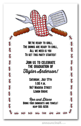 Grill Tools Graduation Party Invitations