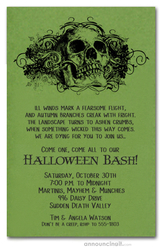 Grunge Skull on Green Halloween Invites