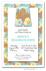 Hibiscus Board Shorts Party Invitations