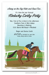 Horse Jockey Spires Derby Party Invitations