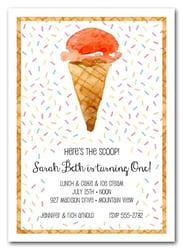 Second birthday party invitations ice cream waffle cone invitations filmwisefo