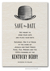 Save the Date Cards Derby Hat on Shimmery White