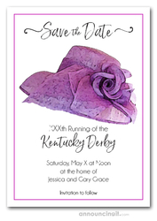 Lavender Floral Hat Kentucky Derby Save the Date Cards