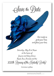 Blue Floral Hat Kentucky Derby Save the Date Cards