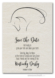 Save the Date - Horse on Shimmery White