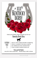 Large Horseshoe & Red Roses Derby Invitations