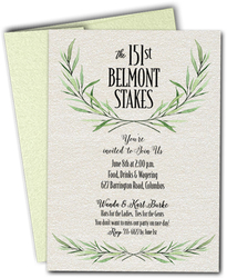 Laurel Greenery Belmont Stakes Invitations on Shimmery White Paper