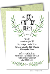 Laurel Greenery Kentucky Derby Invitations on Shimmery White Paper