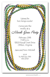 Mardi Beads Necklace Party Invitations