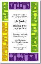 Mardi Gras Drink Blocks Invitations