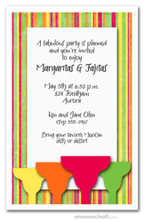 Margaritas on Bright Stripes Invitations