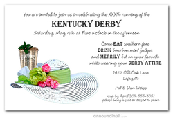 Mint Julep and White Derby Hat Derby Invitations