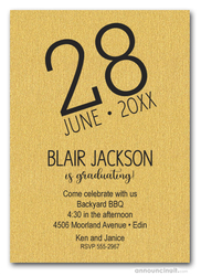 Modern Date Shimmery Gold Graduation Party Invitations