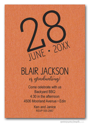 Modern Date Shimmery Orange Graduation Party Invitations