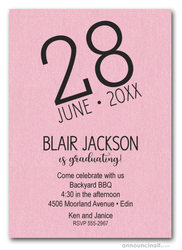 Modern Date Shimmery Pink Graduation Party Invitations