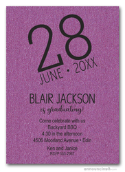 Modern Date Shimmery Purple Graduation Party Invitations