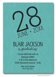 Modern Date Shimmery Turquoise Graduation Party Invitations
