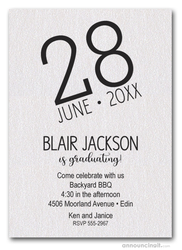 Modern Date Shimmery White Graduation Party Invitations