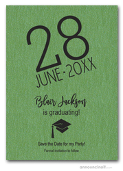 Shimmery Green Modern Graduation Save the Date Cards